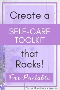 Finally, self care that is doable! It's not just a list of random self-care activities. This self-care toolkit is something I am going to create right away. #chronicillnesswarriorlife #chronicillness #chronicillnesslife #mentalillness #mentalhealth #selfcare #selfcareplan #selfcareideas #selfcareactivities #selfcareworksheet #selfcareprintable #selfcaretoolkit