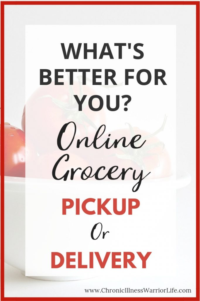 Because I have a chronic illness, grocery shopping online is the greatest thing since sliced bread. I am glad I found this article that asks the question, what's better grocery delivery or grocery pickup. Now that I have seen them compared, I know which one is best for me. #grocerydelivery #grocerypickup #onlinegroceryshopping #groceryhacks #groceryshopping #chronicillnesswarriorlife #chronicillnesstips #chronicillness #chronicillnesslife #chronicillnesschallenges #chronicillnesshacks