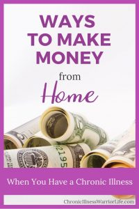 Now that I have found out how to make money from home with a chronic illness, I won't feel like a burden on my family anymore. I didn't know there were so many ways to make money from home that weren't a scam.#chronicillnesswarriorlife #chronicillness #makemoney #athomejobs #chronicillnesjobs #mentalillnessjobs #mentalillness #wahm #workathome #sidehustle #blogging #entreprenuer