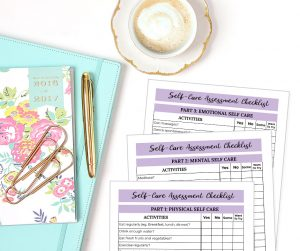 group of self care worksheets