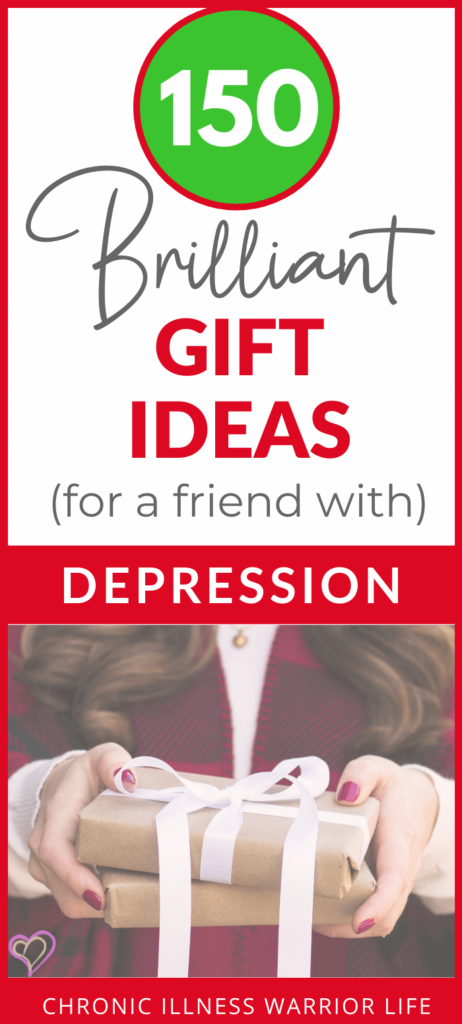 women holding a Christmas present with text overlay of 150 brilliant gift ideas for a friend with depression