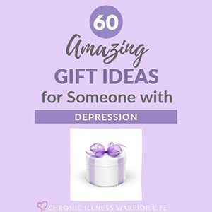 purple present with text overlay of gift ideas for someone with depression