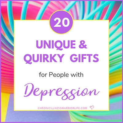 bright colored slinky with text overlay that says unique and quirky gifts for people with depression