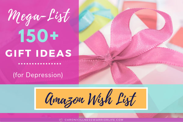 pink present with text overlay of mega list of 150 gift ideas for depression
