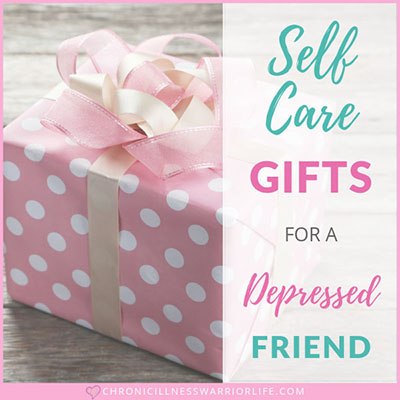 pink polka dot present with text overlay that says self care gifts for a depressed friend