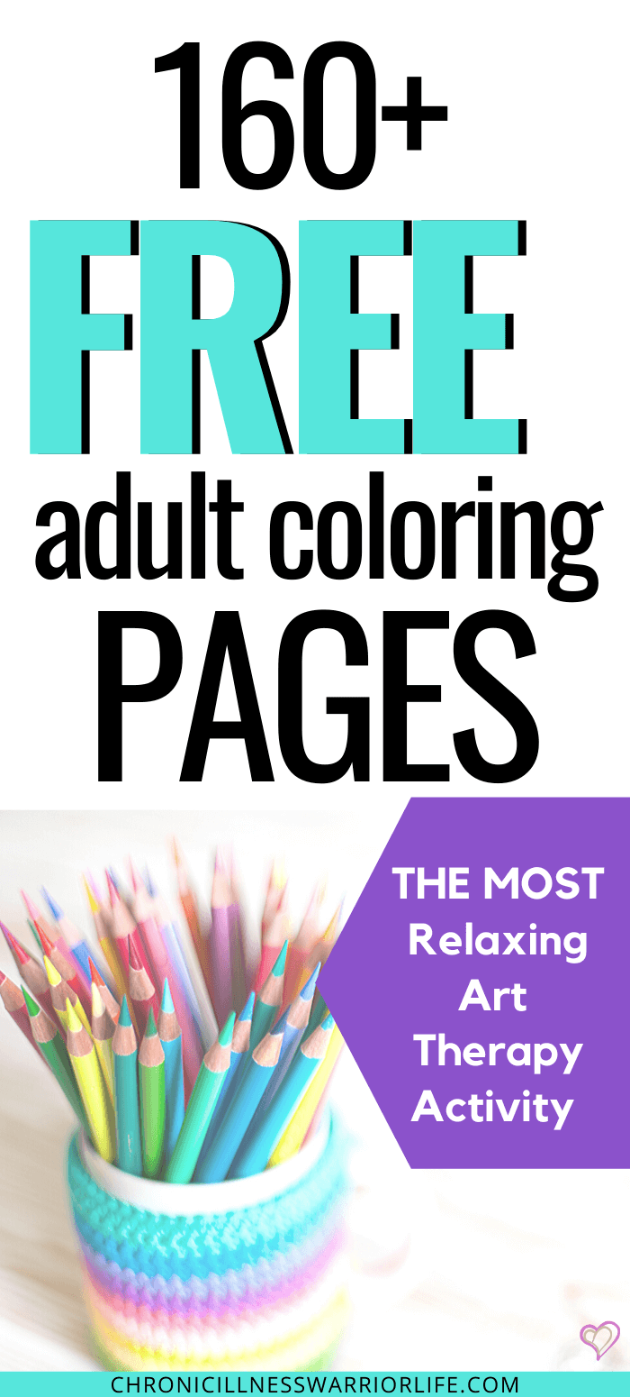Get over 160 free adult coloring pages and start doing one of the most relaxing art therapy activities out there. A great self-care activity for improving mental health and practicing mindfulness. #arttherapyactivities #adultcoloring #coloringpages via @chronicillnesswarriorlife