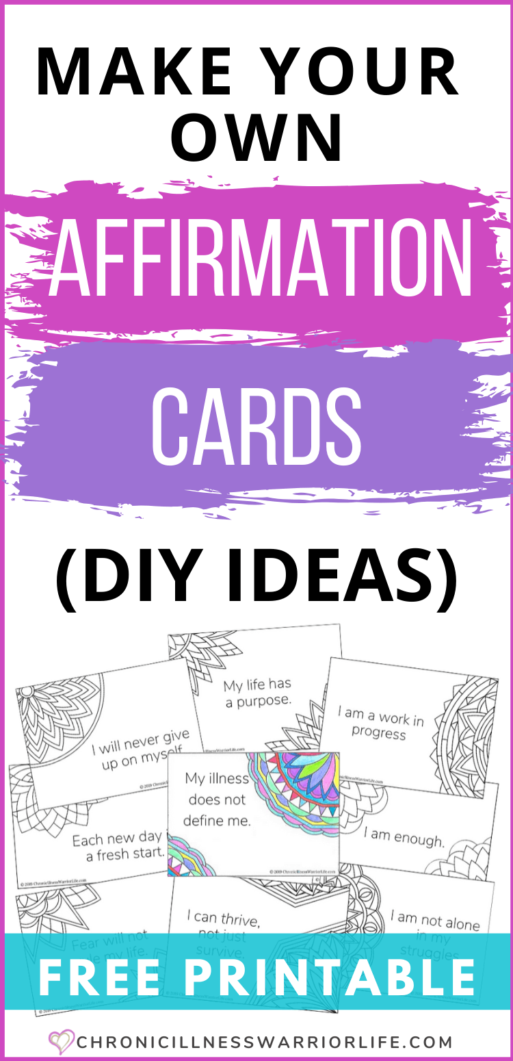 A solid self care plan should include using positive affirmations. Learn how to make your own affirmation cards with several of these awesome DIY ideas. Plus get a free printable. #printables #selfcare #affirmations #emotionalhealth A solid self care plan should include using positive affirmations. Learn how to make your own affirmation cards with several of these awesome DIY ideas. Plus get a free printable. #printables #selfcare #affirmations #emotionalhealth via @chronicillnesswarriorlife
