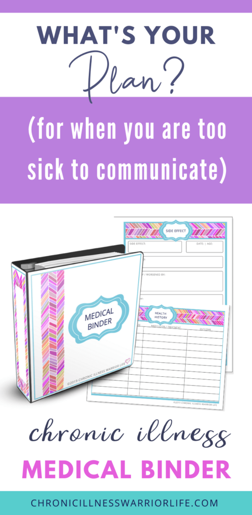 medical binder and printables with the words what's your plan for when you are too sick to communicate