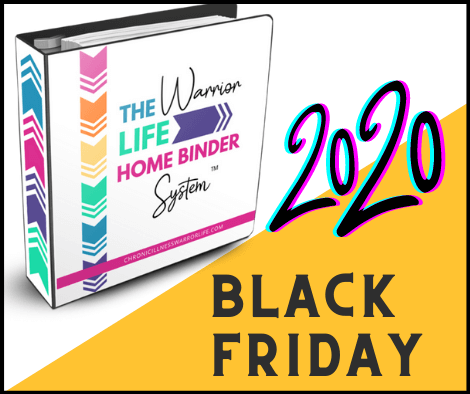 brightly colored binder standing up behind the words black friday