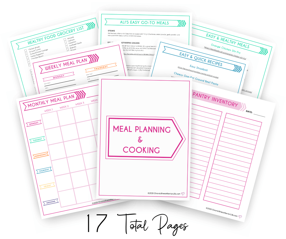 group of meal planning and cooking printable