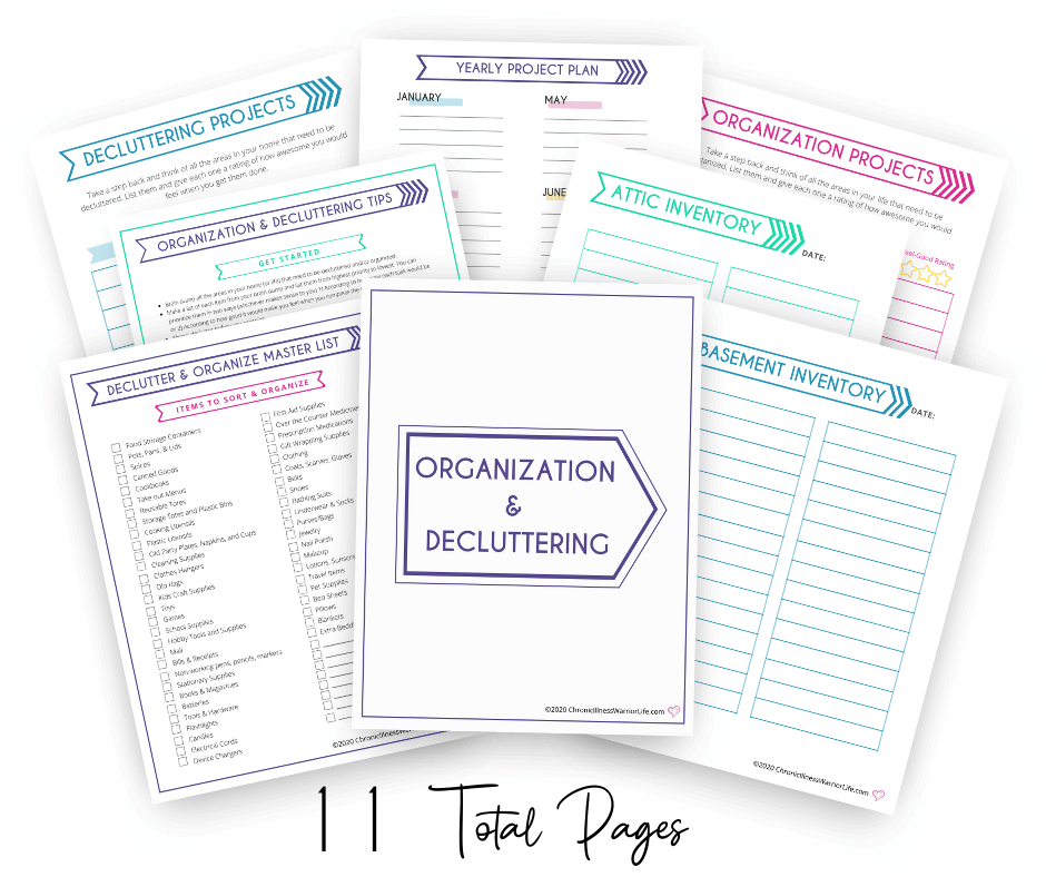 group of decluttering and organizing printables