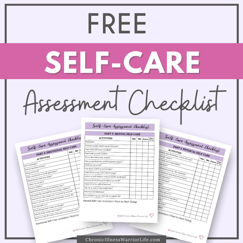 3 page images of a free self care assessment checklist