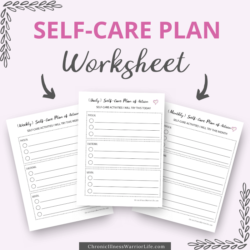 3 self care plan worksheet printables