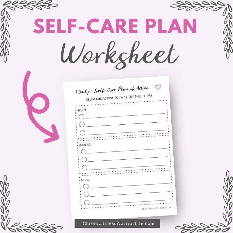 self care plan worksheet pdf with arrow